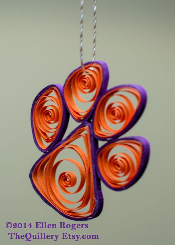 Handmade Clemson Tiger Paw Orange & Purple Christmas Ornament or Window Decoration Football by TheQuillery on Etsy