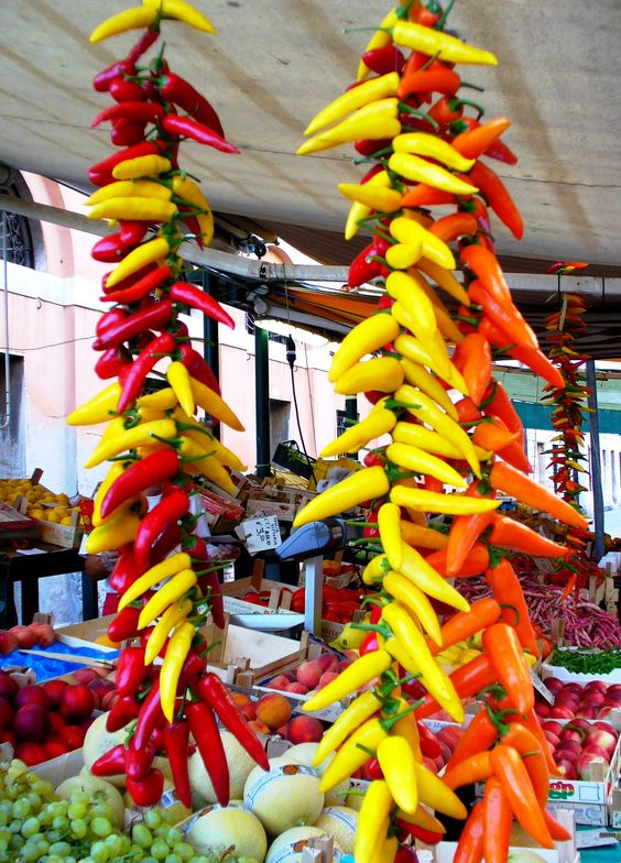 Peppers! Morning market in Venice, Italy  www.finisterra.ca