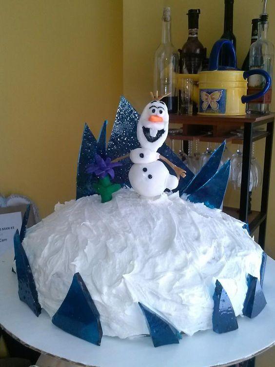Olaf Cake Round Cake Butter Cream Frosting Sugar Glass