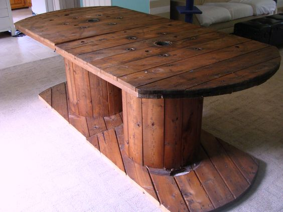 table made from 2 spools that were probably going
