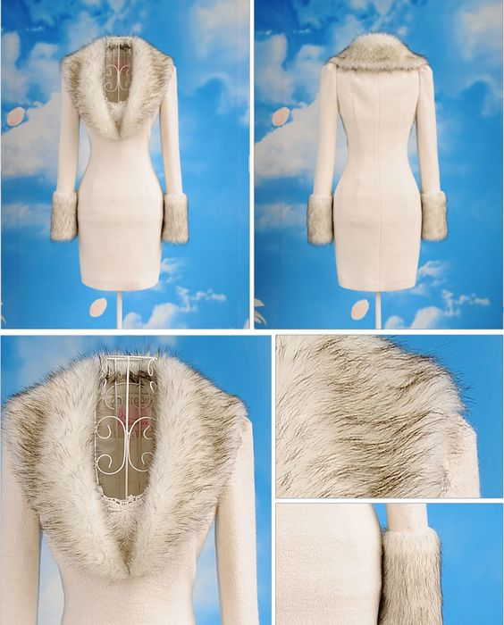 Absolutely gorgeous!!!  Fur-lined off white coat/dress. (Hope it's faux) But elegant and sophisticated. Pretty touch of lace at the neckline.