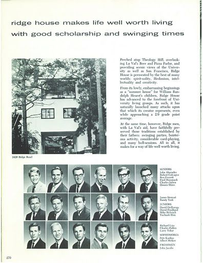 Ridge House members in the 1950s.  Back then, the house was all men.  The Berkeley Student Cooperative went co-ed in all but two of its houses during the 1960s and 1970s.  The Co-op was one of the first providers of student housing to go co-ed.
