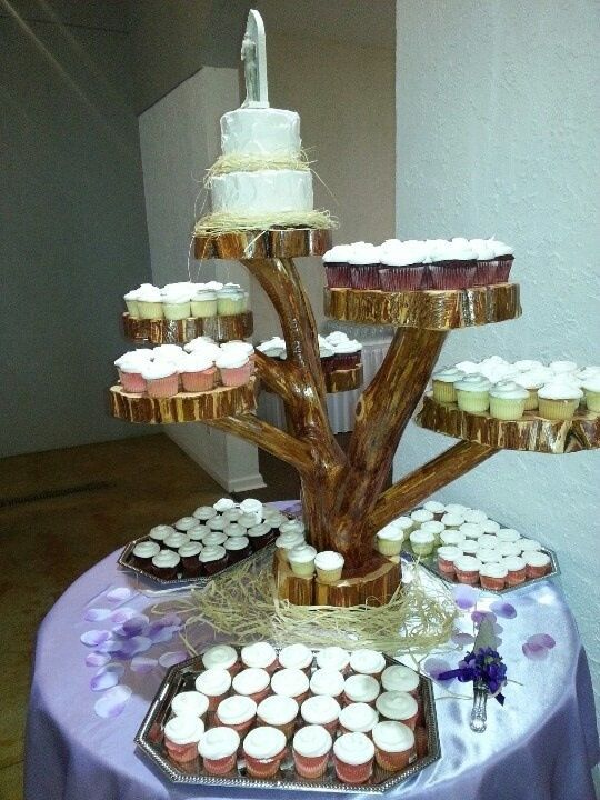 Interesting display of cupcakes. Could paint it white or silver ...