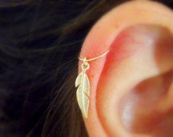 Knorpel-Hoop Ohrringe winzige leaf Silber Hoop von sofisjewelryshop