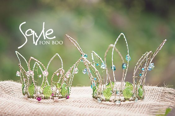 apple tree sisters - two new crowns for apple tree fairies - created handmade with wire and beads