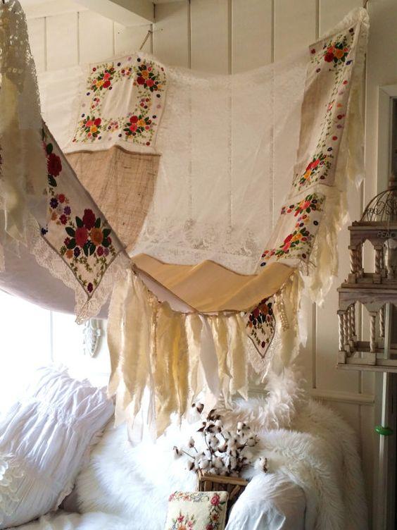 boho bed Canopy Shabby Chic rustic wedding Bohemian Hippy ...