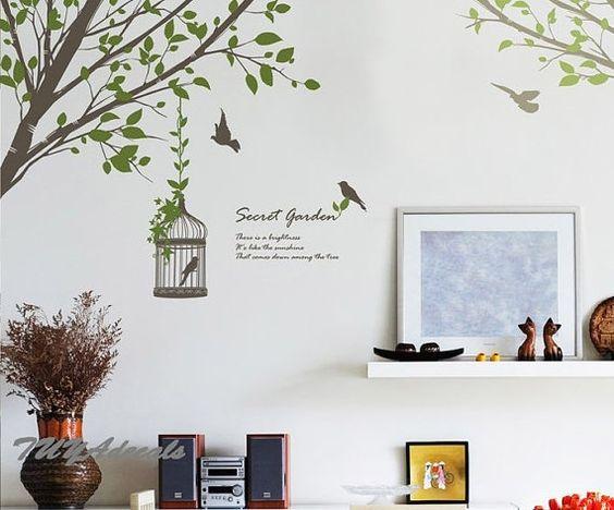 wall decals Vinyl Wall Decal Nature Design Tree Wall Decals chrildrens wall decals Wallstickers Tree with birds wall decals :sweet garden
