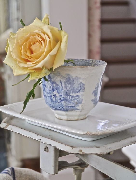 Chateau Chic - Blue transferware cup sitting pretty on a vintage scale: