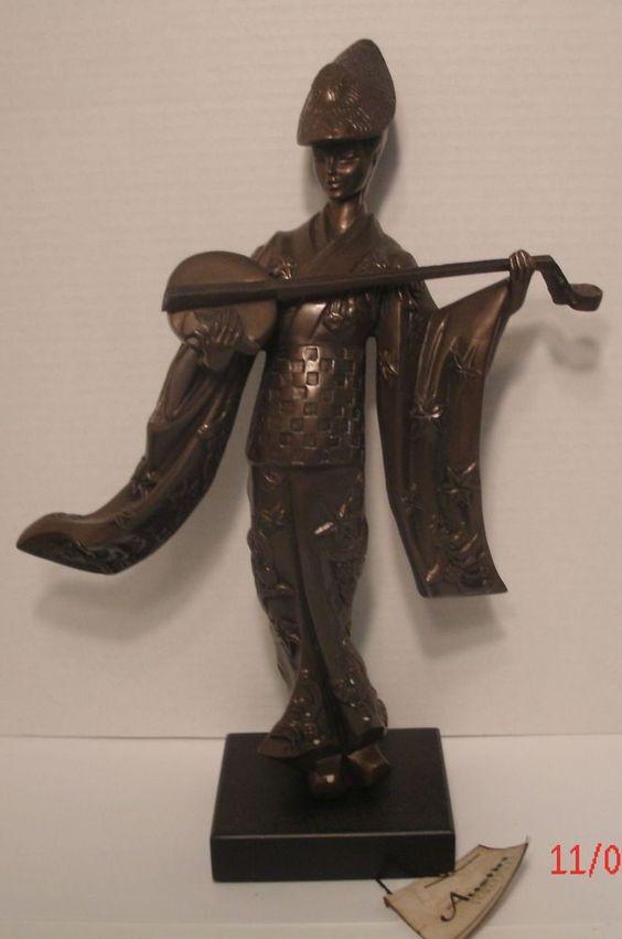 "Austin Sculpture Alexsander Danel AP3805 Samisen Player Japanese 17"" Tall w/ Tag"