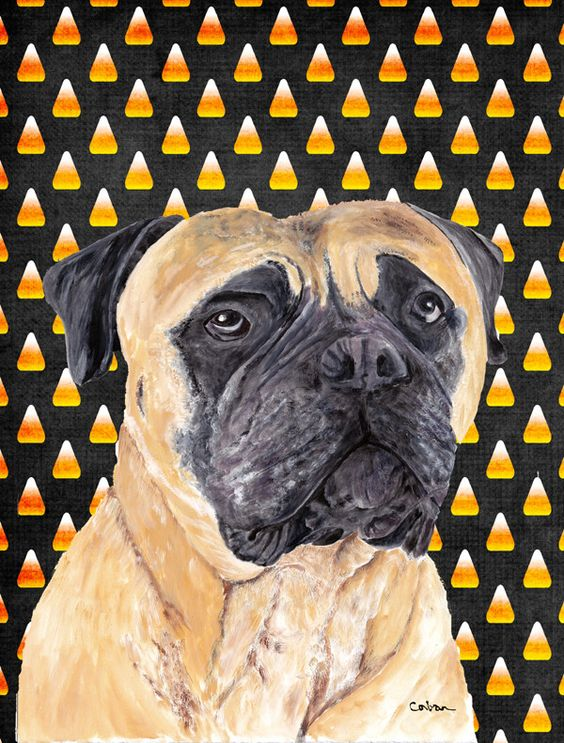Mastiff Candy Corn Halloween House Vertical Flag
