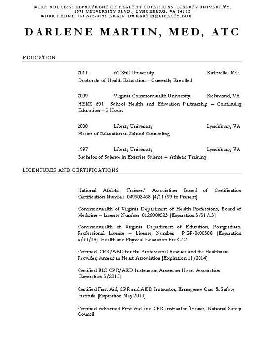 Certified Athletic Trainer Resume - http\/\/resumesdesign - park ranger resume