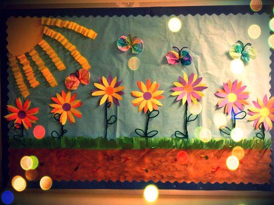 Spring flowers bulletin board primavera flor y flores for Mural de flores y mariposas