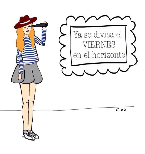 Ya se divisa el viernes en el horizonte, ilustración digital, Elsa Poveda, trendypaperdoll
