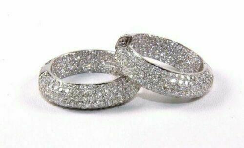 2Ct Round Gorgeous Cut Black Diamond Huggie Hoop Earrings 18K White Gold Finish