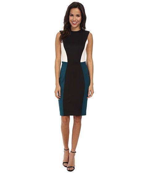 Calvin Klein Calvin Klein  Scuba Color Block CD4M1078 BlackCypressCream Womens Dress for 95.99 at Im in!