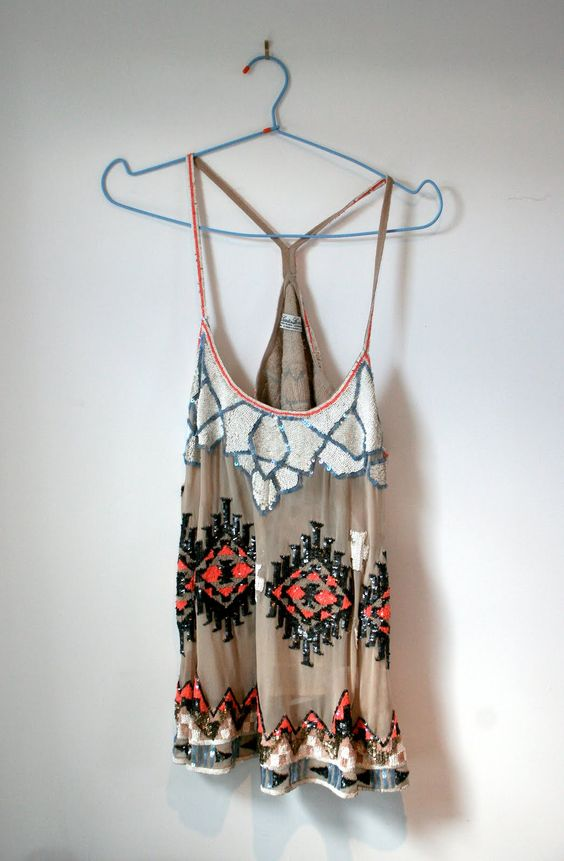 Boho inspired vintage style gypsy tank with cool beading and embellishments