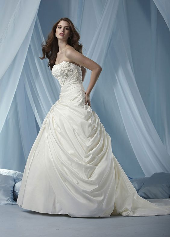 Fashionable strapless dropped waist taffeta wedding dress