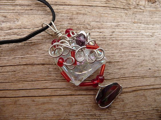 Wire Wrapped Jewelry Handmade Glass Pendant by TiffaneeTwisted, $36.98