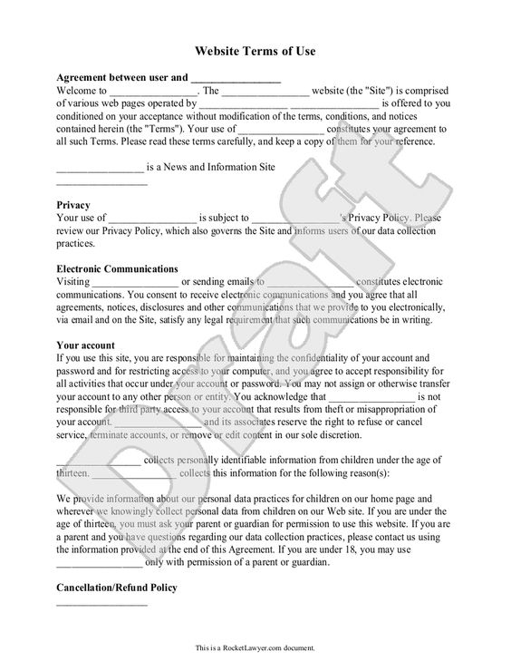 Web site terms of use template website set of and templates for Term of use template