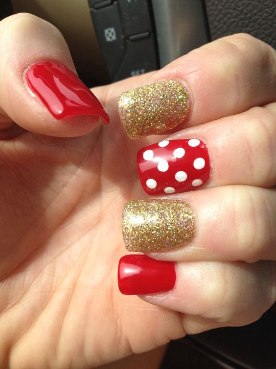 Disney Minnie mouse acrylic nails | Nails | Pinterest | Arte uñas ...