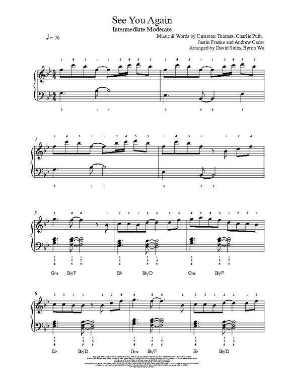 Piano : piano tabs for see you again Piano Tabs and Piano Tabs Foru201a Piano Tabs For Seeu201a Piano