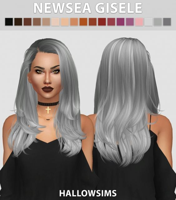 Newsea Gisele hair edit at Hallow Sims via Sims 4 Updates