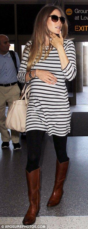 Breton stripes teamed with riding boots..... Stylish & comfy for pregnancy
