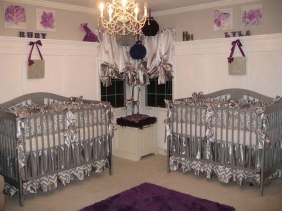 Lavender Nursery Ideas Silver And Purple Twin Nursery