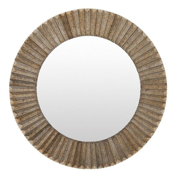 This small size mirror features a light grey wood framed with its beautiful designs and unique round shape. This home mirror is bound to become the focal point of any room or living space.