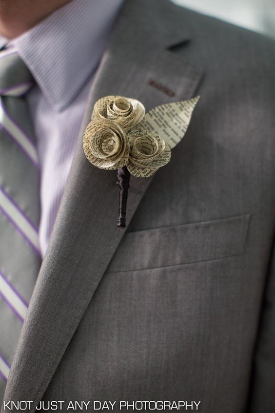 Paper flower boutonniere made from vintage book pages
