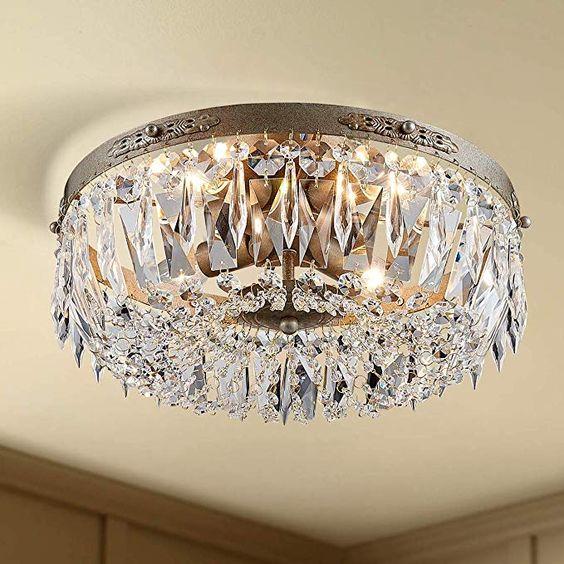 Bestier Chrome Modern Pendant Chandelier Crystal Lighting Ceiling Light Fixture Lamp for Dining Room Bathroom Bedroom Livingroom entryway 4 E12 Bulbs