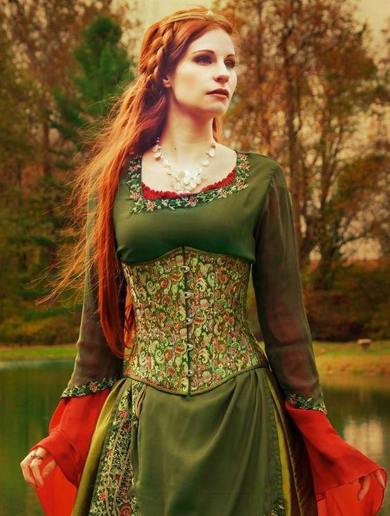 Timeless Trends Women's Steampunk Brocade underbust corset - rennaisance fair, scottish games,: