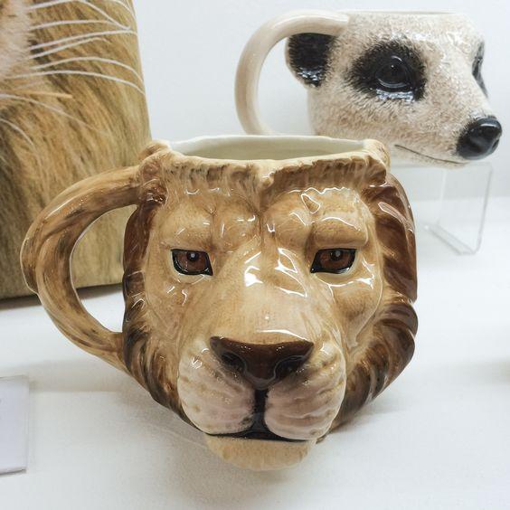 Lion and meerkat shaped ceramic mugs mug lion animal for Animal shaped mugs