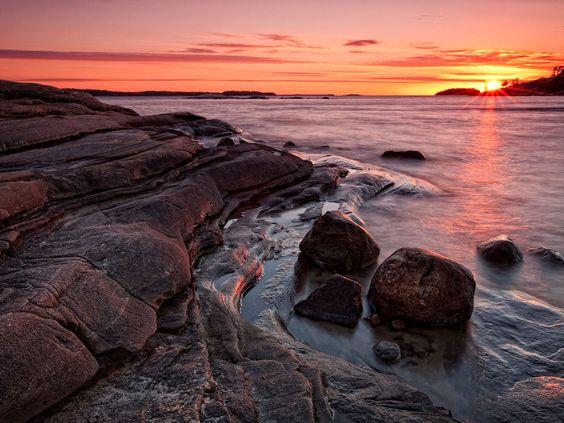 Sunset Over Georgian Bay, Huron Lake -  Killbear Provincial Park, Ontario, Canada