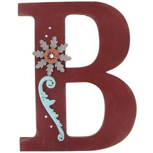 Red Rustic Wood Letter with Embellishment - B