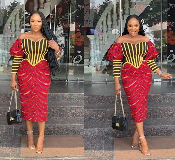 Zahra African Print Midi Dress, Ankara Dress, Puff Sleeves, African Clothing for Women, Short...