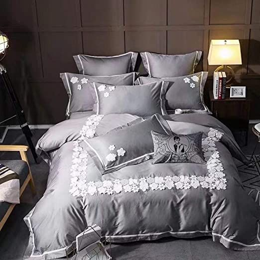 Loikhgv Four Piece Bed Luxury Black Lace 100s Egyptian Cotton Bedding Sets Size Duvet Cover Bed She Cotton Bedding Sets Bed Sheet Sets Egyptian Cotton Bedding