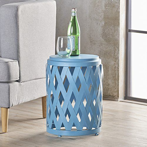 Perciad Indoor 12 Inch Diameter Lattice Matte Blue Iron Side Table End Tables Table Luxury Home Furniture