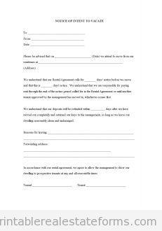 Printable Sample Notice Of Intent To Vacate Form  Ms Office