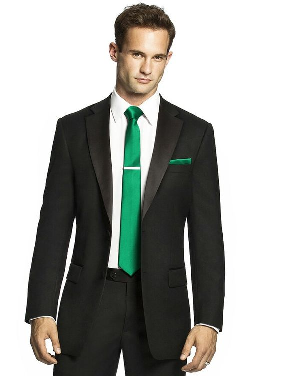 Black Suit Green Tie Dress Yy