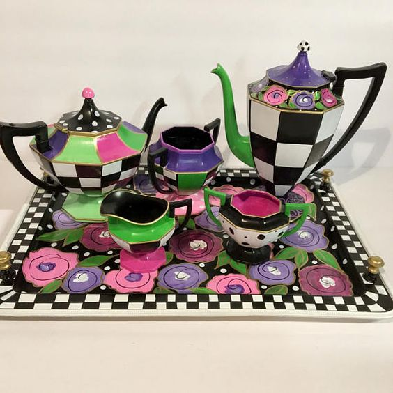 Tea set transformation! Send me YOUR set - new or old- and I will add the artwork. I can recreate one if my designs, or create a custom design just for you. One that coordinates perfectly with your decor. Contact me for my studio address. Use this link to pay for a three (3) piece set :  https://www.etsy.com/listing/510304826/three-piece-tea-set-art-whimsical?ref=shop_home_active_4  Use this link to pay for a three (3) piece set PLUS a tray:  https://www.etsy.com/listing/524118473/four-4-piec...