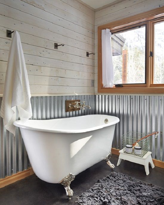 Corrugated Metal Wall At Chair Rail Height In Bath. | Home   Bathroom |  Pinterest | Corrugated Metal, Metal Walls And Bath