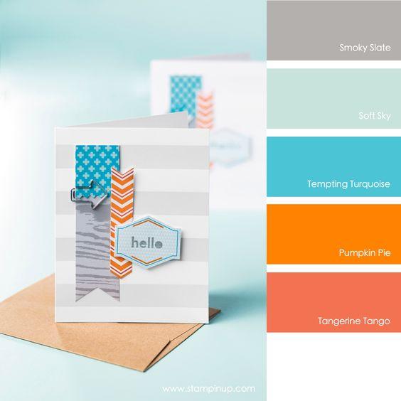 Smoky Slate, Soft Sky, Tempting Turquoise, Pumpkin Pie, Tangerine Tango #stampinupcolorcombos