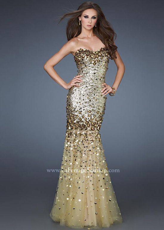 La Femme 18439 is a perfect gold sparkly prom dress to get ...