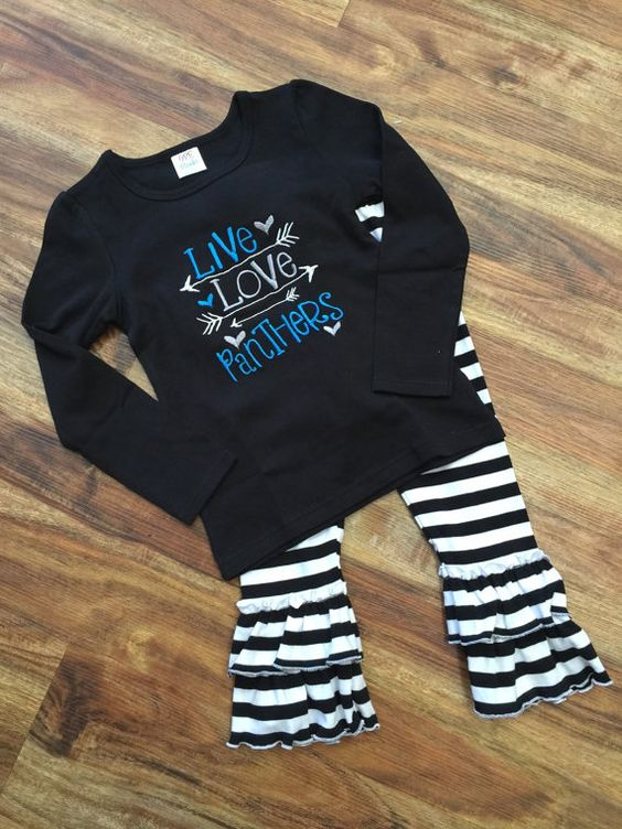 Carolina Panthers Shirt/ Super Bowl Shirt-Girly Panthers Boutique Ruffle Shirt or Onesie! Show your team spirit for the playoffs!  Available