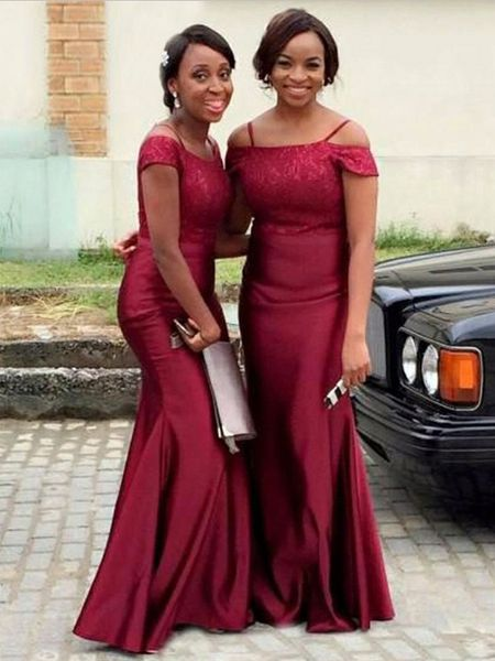 Simple Burgundy Off The Shoulder Mermaid Satin Long Bridesmaid Dresses, SW1018#bridesmaiddresses #burgundy #burgundybridesmaiddress #prettydress #prettydresses #longbridesmaiddress #longbridesmaiddresses