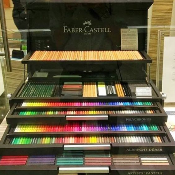 Faber-Castell 250th Anniversary! Special Editions Contains: -120 POLYCHROMOS artists' color pencils -120 ALBRECHT DURER artists' watercolor pencils -120 POLYCHROMOS artists' pastels - 60 PITT pastel pencils -15 CASTELL 9000 assorted from 8B to 6H Price: $1700 USD