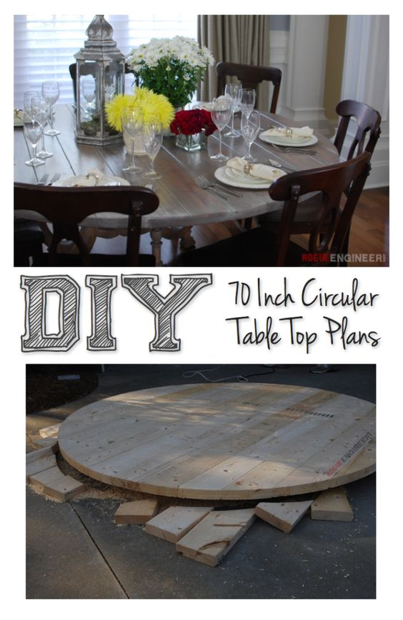 Round table top round tables and diy tutorial on pinterest for Diy round farmhouse table plans