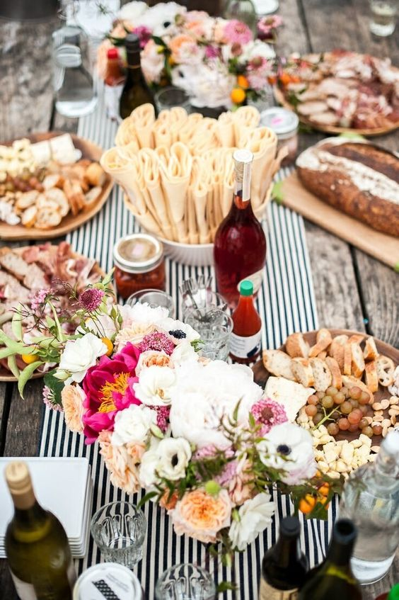 summer outdoor alfresco dinner party lunch with antipasto platters artisan bread wine