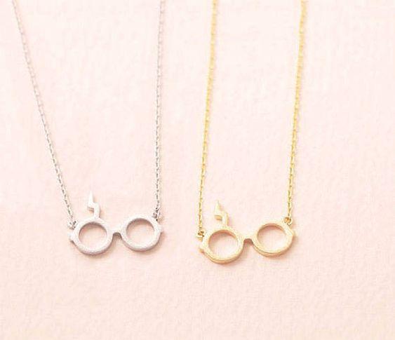 Dainty Harry Potter lunettes collier en or/argent, collier tous les jours, anniversaire collier, collier de Graduation, demoiselle d